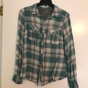 Green and Gray Plaid Button Down